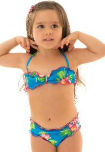 Blomstrete bandeau bikini for jenter - HOOKERI GIRL