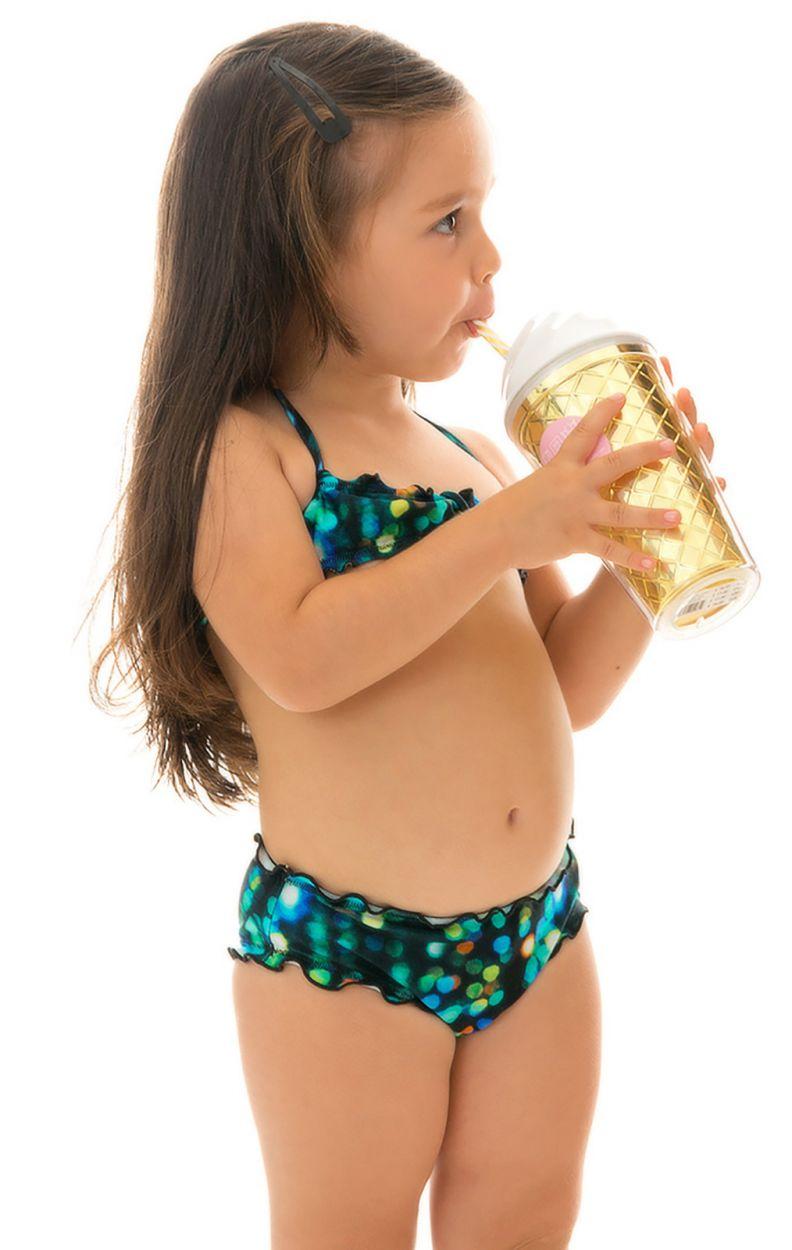 Svart och blå bandeaubikini för flickor - LUCE KIDS