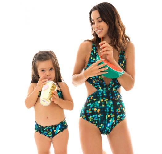Svart og blå bandeau bikini for jenter - LUCE KIDS