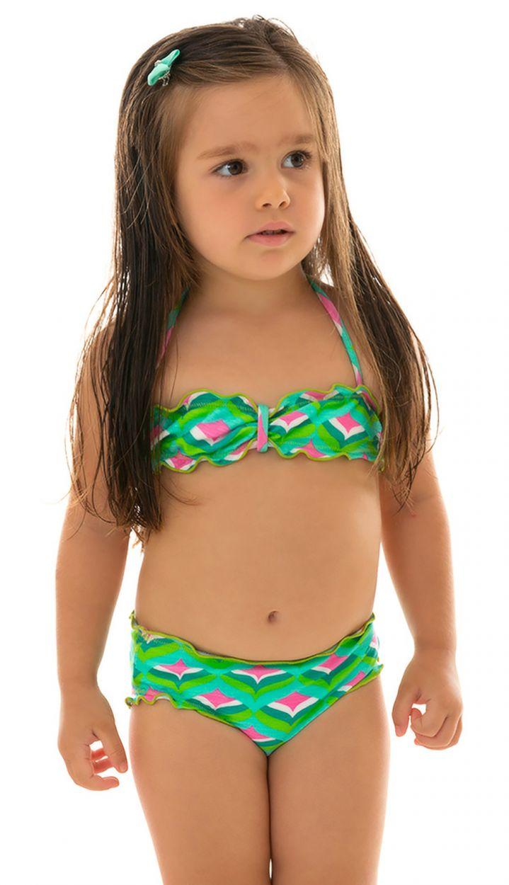 Geometric green bandeau bikini for girls - MERMAID KIDS