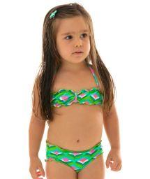 Grüngemusterter Bandeau-Bikini, Baby-Mädchen - MERMAID KIDS