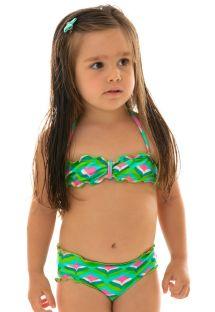 Geometrinen vihreä bandeau-bikini pikkutytöille - MERMAID KIDS