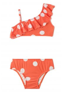 Bikini set for a girl - orange in white polska dots - OMBRO SÓ POP