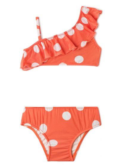 Tvådelad flickbaddräkt, orange med prickar, volanger - OMBRO SÓ POP