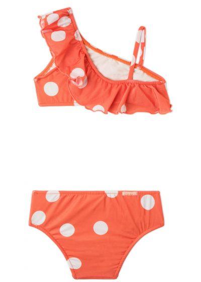Maillot deux-pièces fille orange à pois et volants - OMBRO SÓ POP