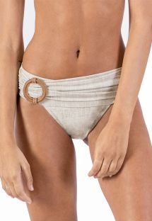 Linen draped Brazilian bikini bottom with leather details - BOTTOM ALONGADO LIGHT LINEN