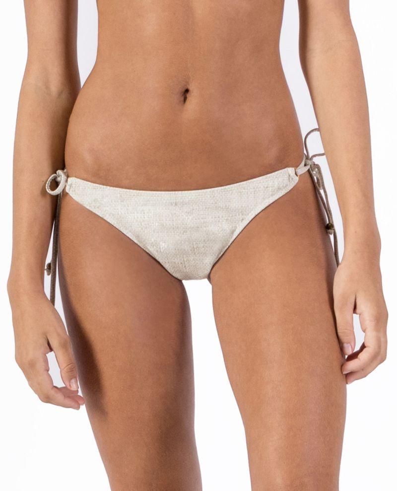 Side-tie linen scrunch bikini bottom - BOTTOM CORTININHA LIGHT LINEN