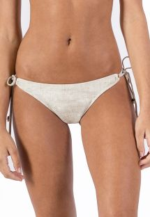 Side-tie linen scrunch bikini bottom - BOTTOM CORTININHA LIGHT LINEN