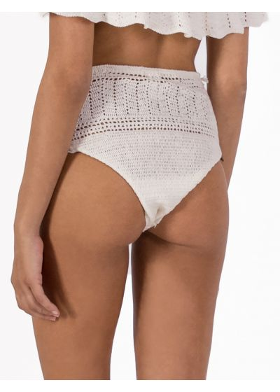 Ecru high-waisted crochet bikini bottom - BOTTOM OMBRO BOHO BEACH