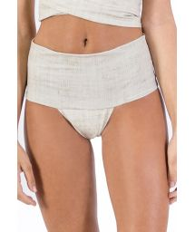 Beige linen high-waised bikini bottom - BOTTOM PAREO LINEN LEATHER