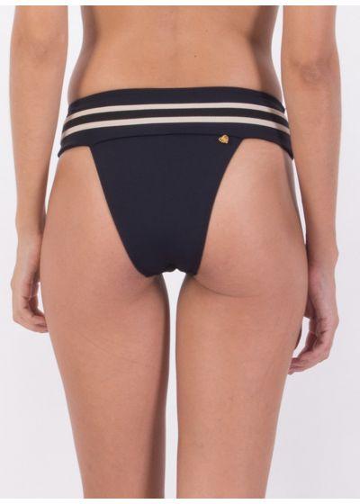 Black & white bikini bottom with leather detail - BOTTOM TQC PANAMA