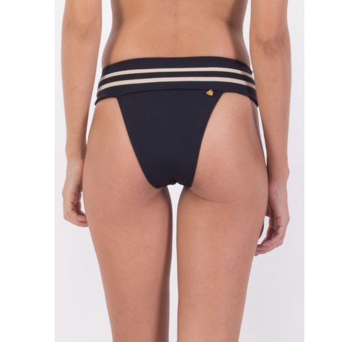 Black & white bikini bottom with leather detail - BOTTOM TQC PANAMA
