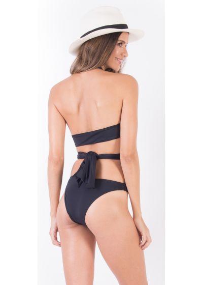 Multi-position black Brazilian monokini - MAIÔ MANYWAYS SAND LINES