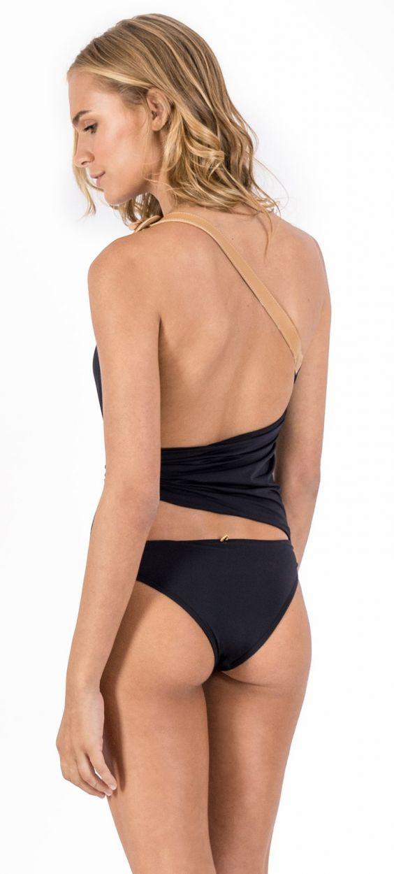 Asymmetric one-piece swimsuit with leather details - MAIÔ PAREÔ PRETO BLACK LEATHER