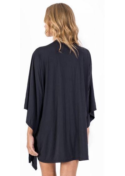 Draped black beach dress with deep neckline - VESTIDO BLACK LEATHER