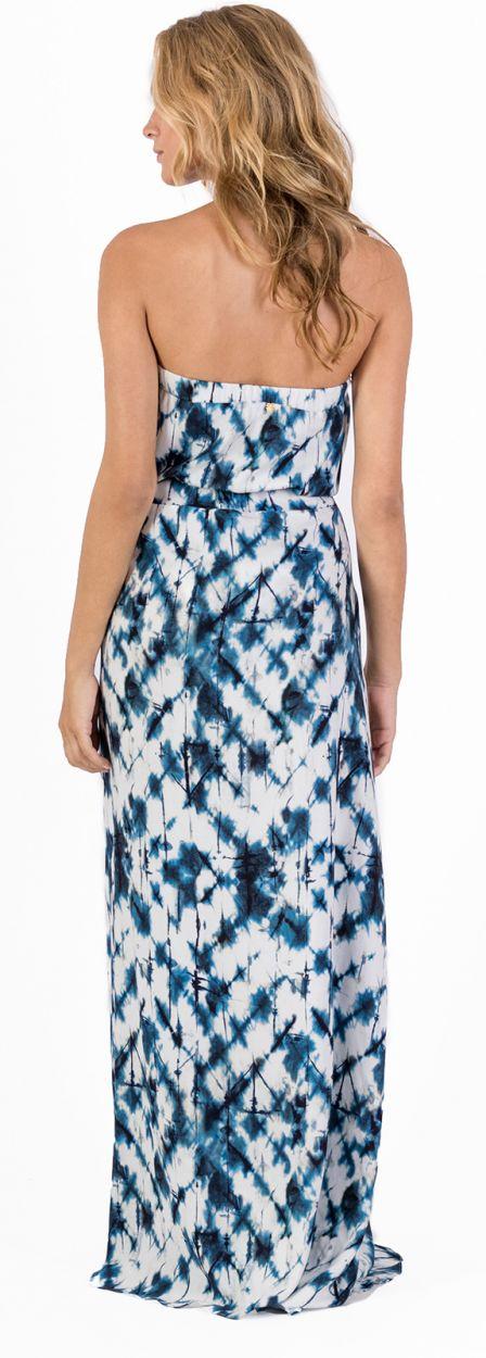 Long off shoulder beach dress in blue tie-dye print - VESTIDO LONGO SHIBORI BLUE