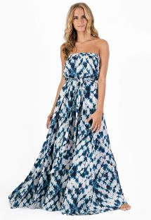 Long off shoulder beach dress in blue tie-dye print - VESTIDO LONGO SHIBORI BLUE