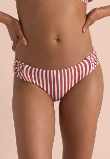 White & red stripes larger side bikini bottom with side straps - BOTTOM DOS PALMAS MAUI RIDE MULTI
