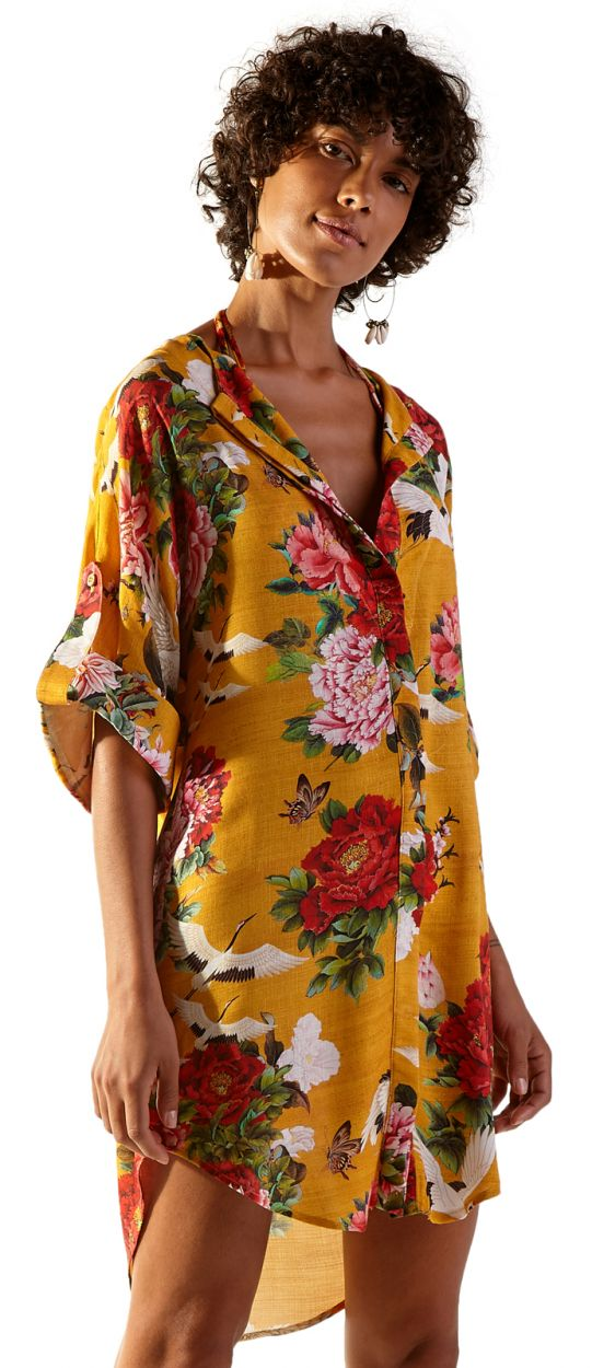 Asymmetrical shirt dress with yellow flowers - CHEMISE MONACO XANGAI
