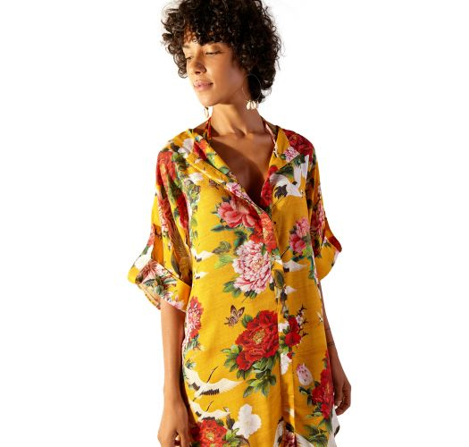Asymmetrical shirt dress with yellow flowers - CHEMISE MONACO XANGAI