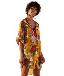 Robe chemise asymétrique jaune à fleurs - CHEMISE MONACO XANGAI