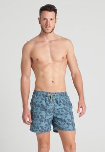 Men`s blue printed swim shorts - AFRICAN DANCERS