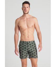 Men`s khaki print beach shorts - AFRICAN LOTUS