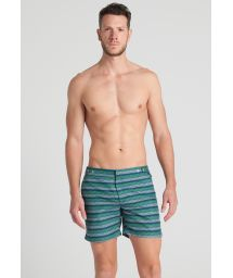 Men`s blue/green striped beach shorts - BYPATH