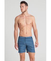 Men`s blue geometric print beach shorts - RHOMBUS