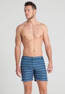 Mavi geometrik desenli erkek plaj şortu - RHOMBUS