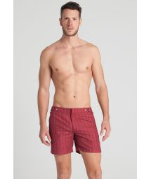 Men`s dark red ethnic print beach shorts - SAMBURU