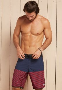 Long navy blue beach shorts with red stripes - BRASIL
