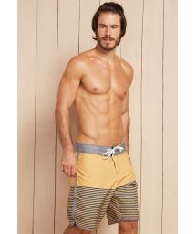 Yellow board shorts with grey stripes - EPSILON PEGASI