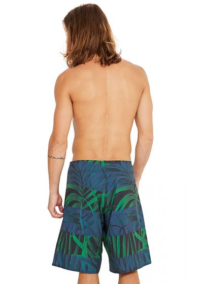 Blue and green boardshorts - palm tree leaves print - MAXI TABASCO