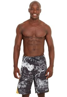 Black and white boardshorts with leaves print - MAXI TROPICA