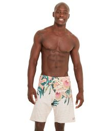 Beige boardshorts in a floral print - MID FLOR DO SERTAO