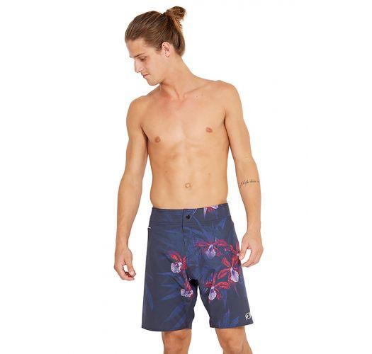 Marineblaue Boardshorts mit floralem Print - MID NOTURNELLA