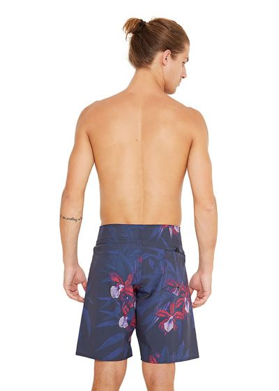 Navy boardshorts with a floral print - MID NOTURNELLA