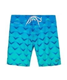 Swim shorts geometric pattern overblended shades of blue - MID OSORNO DEEO