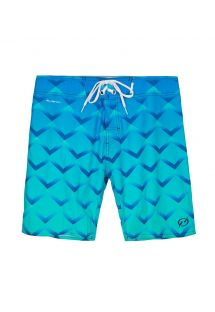 Swim shorts geometric pattern over blended shades of blue - MID OSORNO DEEO