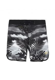 Short de bain long homme tropical noir - MID VISUAL