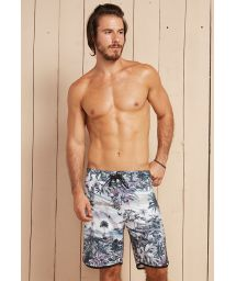 Tropical white/black long swimming shorts - PAIS TROPICAL