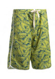 Long swim shorts - yellow foliage - BERMUDA SURF AMARELO