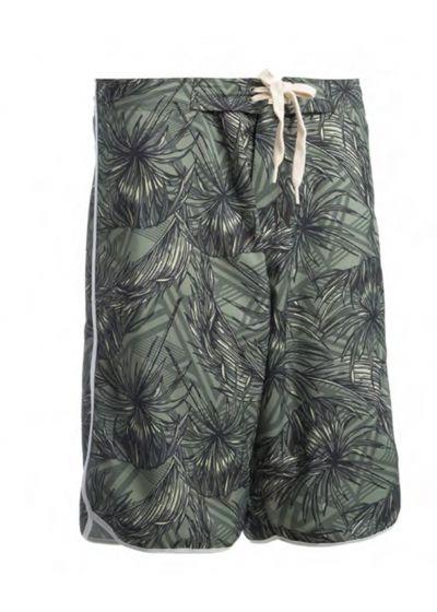 Long swim shorts - tropical khaki - BERMUDA SURF KAKI TROPIC