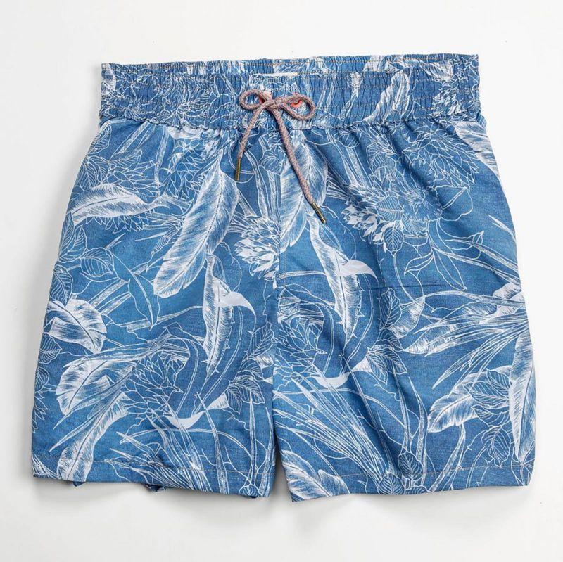 Blåmönstrade, vändbara badshorts för män - CORDUROY SEA