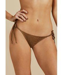 Luxurious copper side-tie Brazilian bikini bottom with lurex - BOTTOM BOJO DUPLA FACE LUZ-VERDE MUSGO