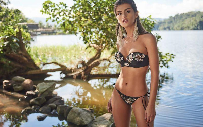 Back scrunch Brazilian bikini bottom with sequined flowers - BOTTOM CLASSIC ROSA PASTEL