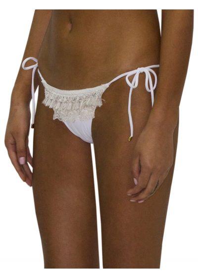 Luxury white fringed and laced bikini bottom - BOTTOM FRINGE JUNGLA NATURAL