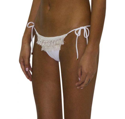 Weiße Luxus-Bikiniihose mit Fransen, Spitze - BOTTOM FRINGE JUNGLA NATURAL