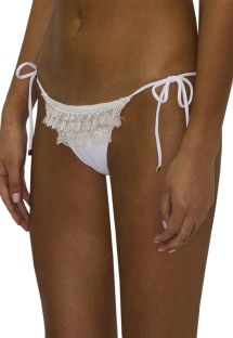 Luxury white fringed and laced bikini bottom - BOTTOM FRINGE JUNGLA NATURAL